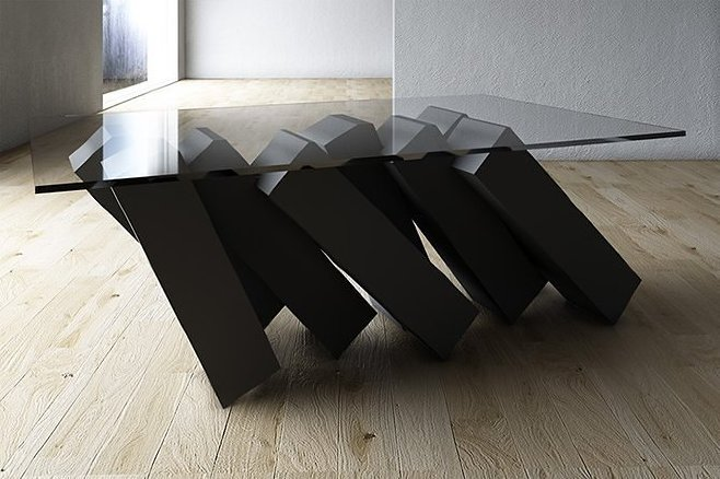 If you would like to be nervous every time you look at your table, may we recommend the Megalith series from Duffy London?
