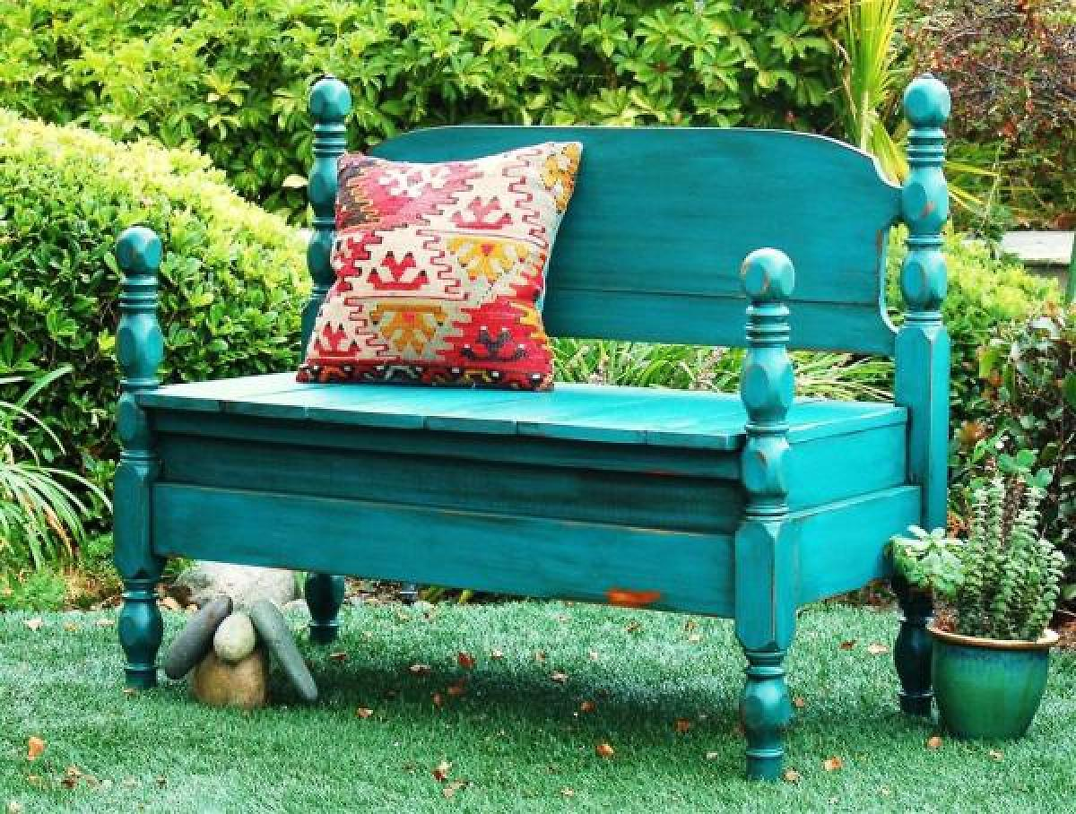Many old pieces of furniture—in your own home or up for grabs for a pittance at garage sales—can be upcycled for the great outdoors!