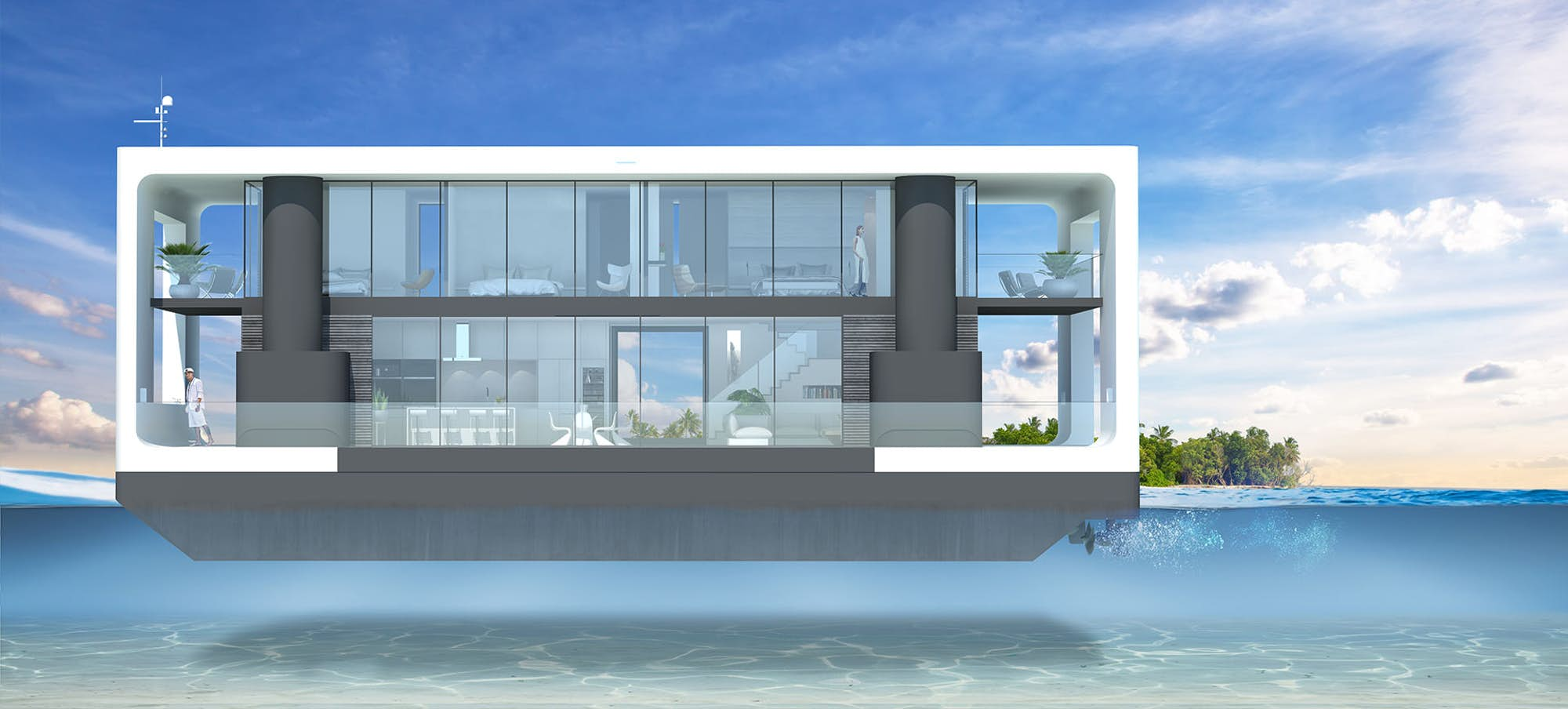 A different view every week: The self-elevating, off-grid, luxury floating home